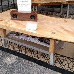 $850  Maple Slab Coffee Table with Aluminum Shelf and Feet